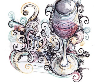 Vino Wine Fine Art Illustration Print