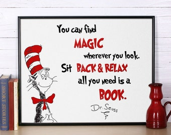 Dr Seuss Quote, You can find magic, Inspirational quote, Dr Seuss print, Nursery print, Dr Seuss nursery poster