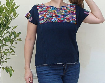 Navy Blue Handwoven Guatemalan Cotton Huipil   Vintage Ethnic Blouse   Hand embroidered Tunic   Traditional Guatemalan Clothing Nahuala Top