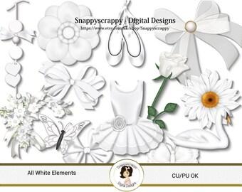 White Digital Scrapbooking Elements, Digital Scrap Kits