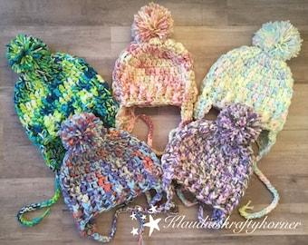 Childrens hat, crochet hat, crochet baby hat, earflap hat, pom pom hat, winter hat, ear cover hat, toddler hat, baby hat, kids beanie