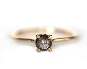 Salt + Pepper Diamond Solitaire Engagement Ring  |  14k Recycled Yellow Gold | Ready to Ship