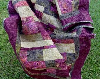 Batik Jewel Tones Lap Quilt - Quiltsy Handmade