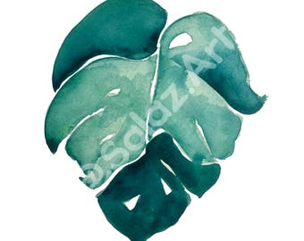 Swiss Cheese Leaf Watercolor Print
