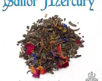 Sailor Mercury - loose leaf green tea, vanilla mint rose tea, Sailor Moon Crystal, fandom tea gift, Ami Mizuno, Moon Kingdom, anime tea gift