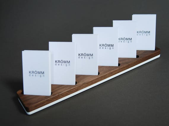 Attractive Multiple Vertical Business Card Display / Walnut and Acrylic QY15