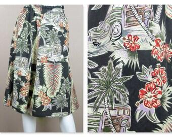 Vintage 1960s 1970s Baumwollrock / Pink, schwarz Druck / Breite elastische Taille / Sz S / Hawaiian Drucken / Resort Mode /