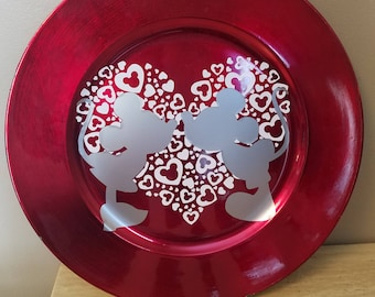 Valentine's Minnie and Mickey Decorative Plate