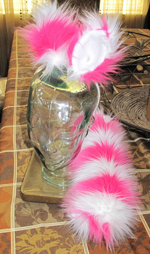 Cheshire cat pink/white striped luxury shag faux fur ears tails & sets