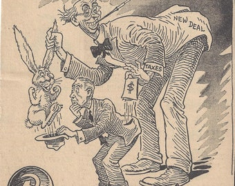 Vintage The Chicago Tribune Friend of the Working Man Political Cartoon by Somdal, 1944