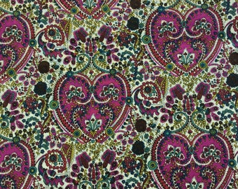 "Kitty Grace B Liberty Fabric tana lawn fat quarter 18"" x 26.5"" (45 cm x 67 cm) purple creamy white green blue The Weavers Mill"