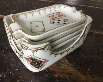 4 Vintage, Porcelain, Ashtrays, With Holder, Ashtray, Small Ashtrays