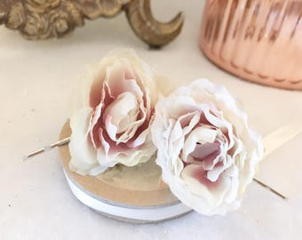 Set of Two Vintage Cream Ivory Silk Rose Bridal Wedding Hair Pins Clips Bobby Pins Hair Accessories Vintage Boho Floral
