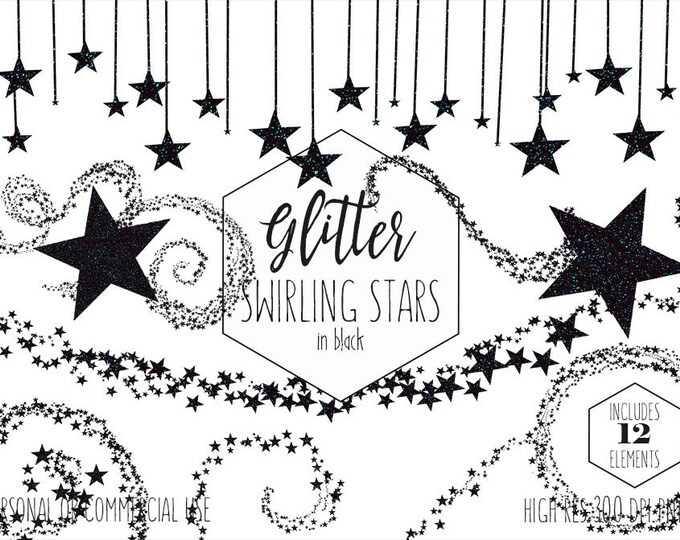 BLACK GLITTER STARS Clipart Commercial Use Clip Art Celestial Night Sky Black Star Images Metallic Star Birthday Party Kids Digital Graphics