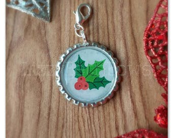 Holly berries Bottlecap planner charm,  purse charm, zipper pull, key charm, classic christmas