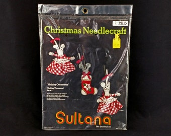 Sultana Christmas Needlecraft Mice Ornaments - 1970s Vintage - New and unopened craft kit for 3 ornaments