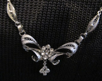 AM LEE Vintage Sterling NECKLACE & EARRiNG Rhinestones wedding jewelry Box set