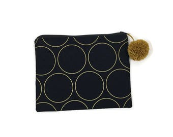 Black and Gold Zipper Pouch - Black, white, gold, pom pom - Desk Accessories - The Classic Collection