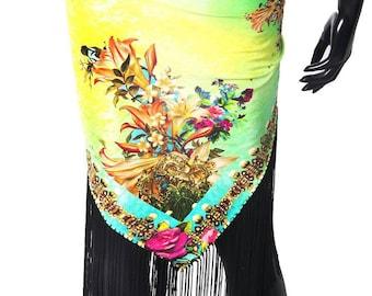 Silky Gypsy Hand Painted Hip Scarf Bohemian or Shawl