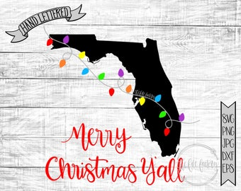 Merry Christmas Y'all Florida Christmas Lights SVG / Merry Christmas Y'all Cut File and Printable / Commercial Use