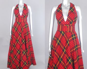 Jacy wool plaid maxi dress | 1970s plaid dress | vintage 70s plaid dress