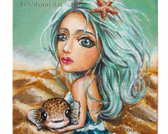 "Fantasy Art Painting - Gift from the Sea - 7x9"" Canvas Board, Big Eye, Lowbrow, Nursery Decor Painting"