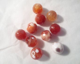faceted agate 8 mm - 32 025 firebrick 10 beads