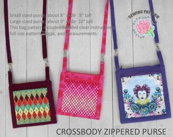 Crossbody Zippered Purse Pattern, Hipster Cross Body Bag PDF Pattern, Purse Pattern with a smart phone pocket, Phone Wallet Sewing Pattern