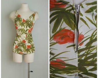 Vintage 1960's Tropical Print Bathing Suit