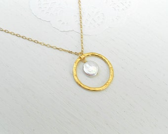 Coin pearl necklace, Gold circle pendant necklace, June birthstone necklace
