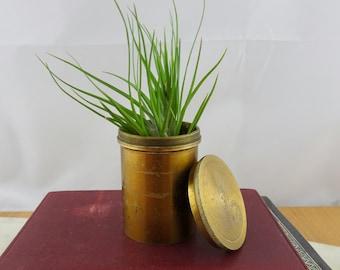 Vintage BrassContainer with Lid, Siemens Bros & Co London 1911, Small Brass Planter,, Succulent Planter, Plant Pot