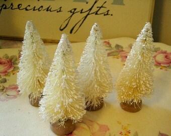 """4 bottle brush trees WHITE 3"""" vintage shabby cottage inspired"""