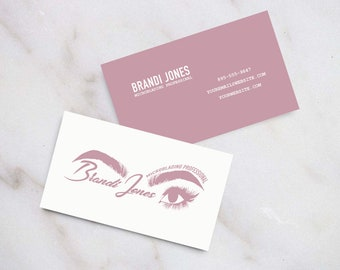 Business card print etsy microblading logo and business card suite download template print yourself beauty professional esthetician cheaphphosting Image collections