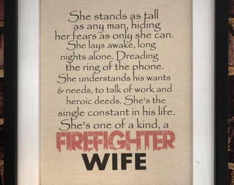 Firemans wifey Firefighter Wife Fire Decor Canvas Print Quote Thin Red Line Decor Wall Hanging Firefighter Retirement Fireman Gifts