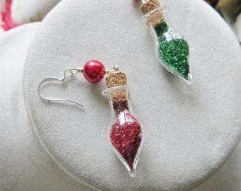 Christmas Holiday Earrings Little Bottles of Glitter Handmade Jewelry
