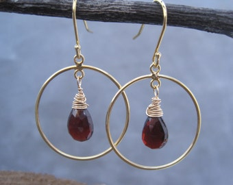 Garnet and Gold Hoops - Gold Hoop Earrings - Birthstone Jewelry - January Birthstone - Garnet Drops - Garnet Dangles - Blood Red