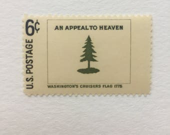 10 Washington's Cruisers Flag 6c US postage stamps unused - Vintage 1968 - An Appeal to Heaven green pine tree historic