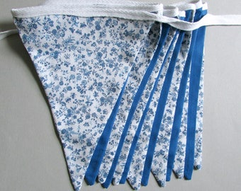 """Blue and White Double Sided Fabric Bunting, Party Banner, Pennant Flag Garland, Floral Pattern, 6.5 ft Length, """"Sapphire Floral"""""""