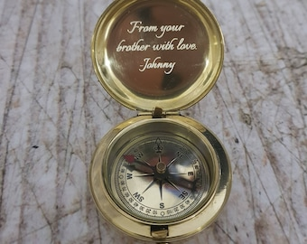 Engraved Compass, Personalized Working and Functional Compass, Groomsmen Gift, Christmas Gift, Valentines Day, Mothers Day, Fathers Day Gift