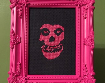 The Misfits framed finished cross stitch- crimson ghost cross stitch