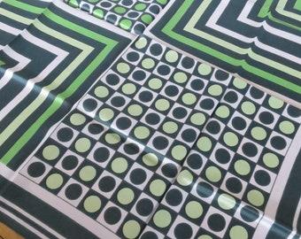 Graphic Vintage Printed Scarf- Greens