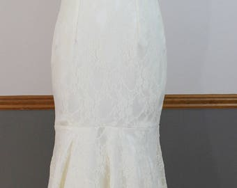 Key Hole Back Fit and Flare Satin Stretch Lace Wedding Dress with Pearl Lace Applique