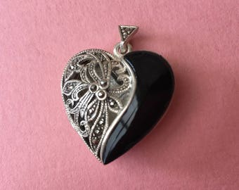 Pretty Sterling Silver Heart Shaped Locket with Onyx and Marcasites