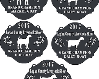 Boer, dairy,pygmy goat,. Personalized livestock show award, trophy, plaque.  Grand, Reserve grand champion.  4h, ffa, showman.