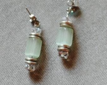 Green frost earrings