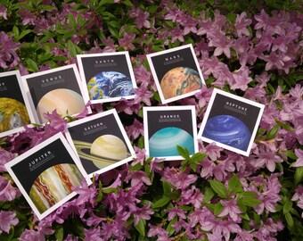 Planet illustration postcard series