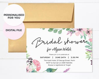 Bachelorette invites, Floral Bridal shower invites, Hens party invites, Bachelorette party invites, Bachelorette party invitations weekend