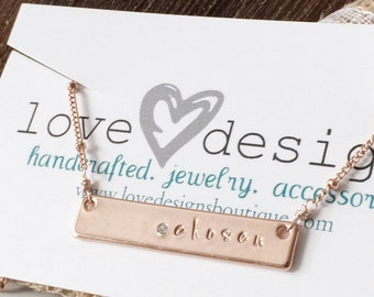 Chosen Collection - chosen - hand stamped rose gold name plate necklace with crystal accent - christian jewelry - faith