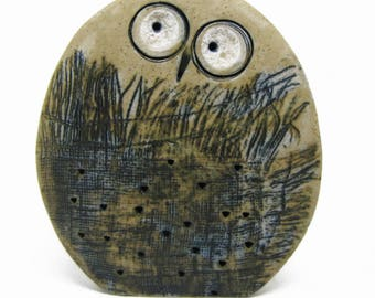 Small Bird Owl of Ceramics Decorated With Drawings, Modern Owl Statue - Ceramic Owl Figurine - Owl Decor, Nature Lover Gift, Modern  Owl S9