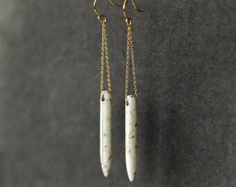 White Spear Earrings, Long Dangle Earrings, Boho Chic Earrings, 14k Gold Filled, Howlite Gemstone, Long Modern Earrings, Bohemian Jewelry
